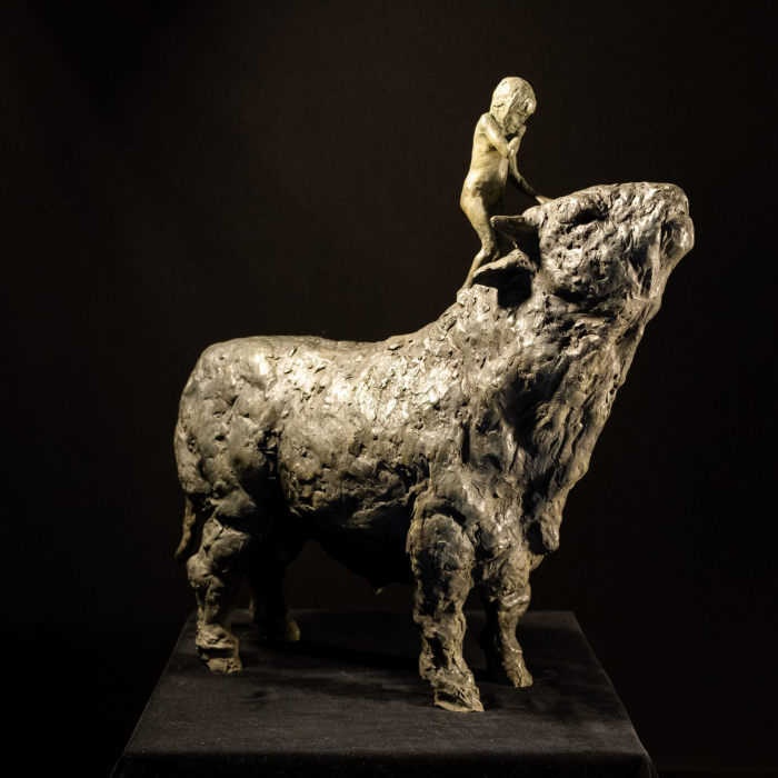 """Girl and Bull, bronze, 24½ "" x 23½"" x 8"" (62.2 x 59.7 x 20.3cm)"