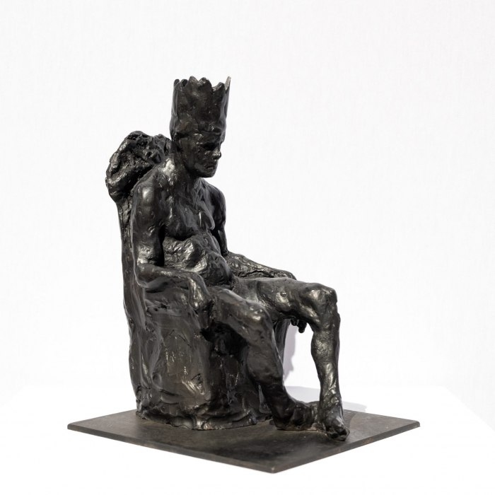 """""""King Minos in Chair"""", bronze with steel base, 9"""" x 9"""" x 6¼"""" (23 x 23 x 16cm)"""