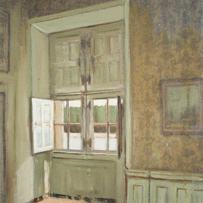 """""""Bedroom"""", oil on linen, 16"""" x 12"""" (41 x 30cm)"""