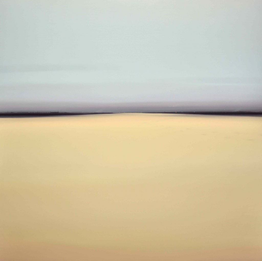 """Oil on board painting of a mirage-like horizon line separating a deserted, sandy landscape from a clear, blue sky by Diego Benéitez titled """"El Sueño Va sobre el Tiempo."""""""