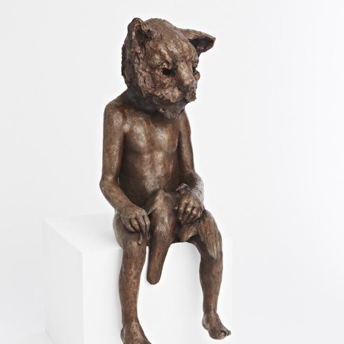 """Cat and pigeon"", bronze resin, 37½"" x 22"" x 12½"" (95 x 56 x 32cm)"