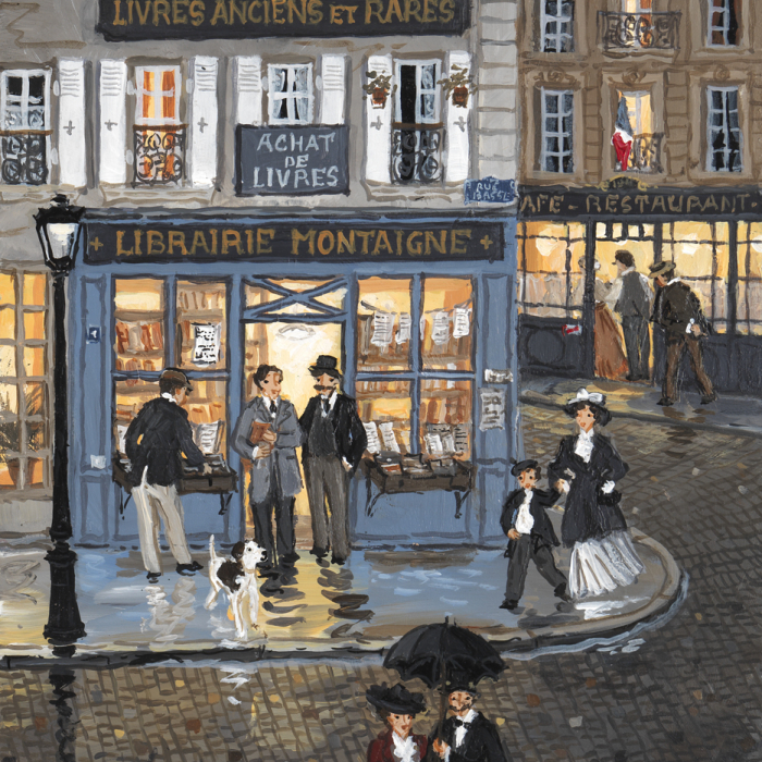 """""""La librairie Montaigne"""", acrylic on board, 9½"""" x 7½"""" (24 x 19cm)"""