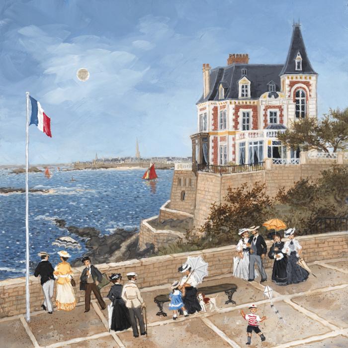 """La villa des Roches Brunes a Dinard"", acrylic on board, 13¼"" x 13"" (34 x 33cm)"