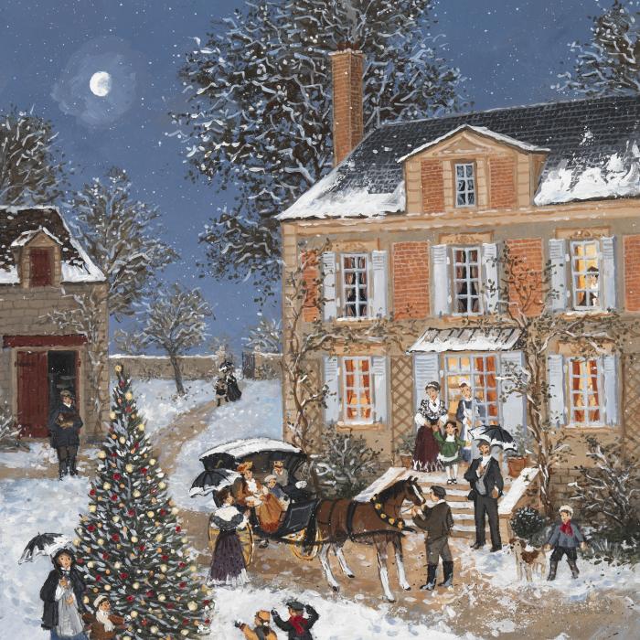 """Le soir de Noel"", acrylic on board, 16"" x 13"" (41 x 33cm)"