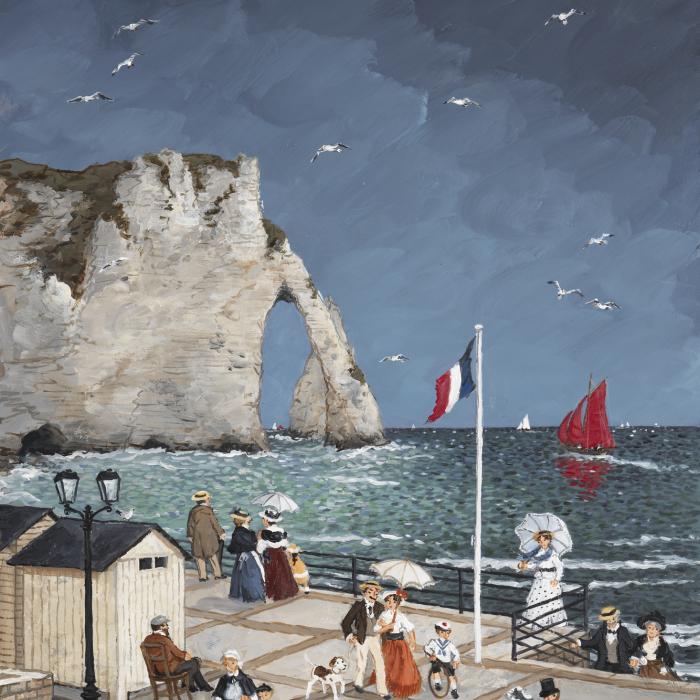 """""""L'orage approche sur Etretat"""", acrylic on board, 16"""" x 13"""" (41 x 33cm)"""