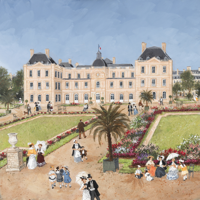 """Printemps au jardin du Luxembourg"", acrylic on board, 15¾"" x 15¾"" (40 x 40cm)"