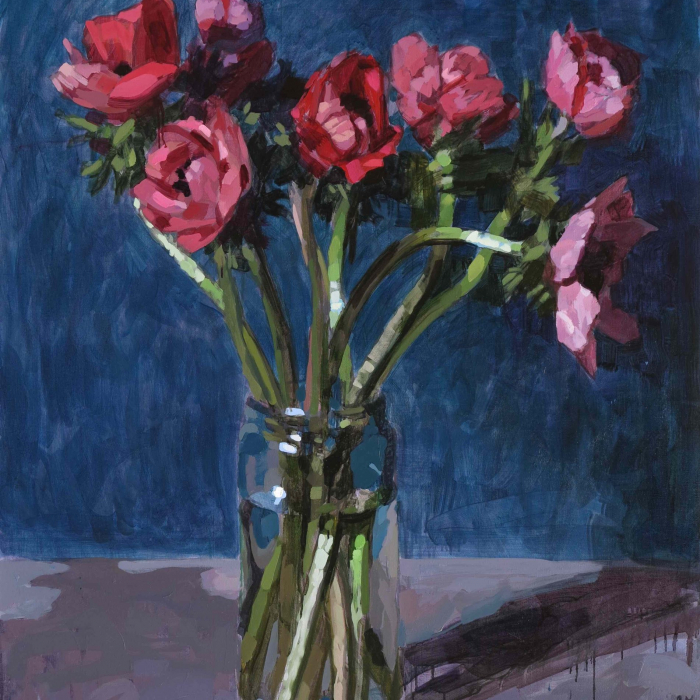 """Oil on canvas still life painting of a vase of red flowers against a blue background by Laurent Dauptain titled """"Anémones, Fond Bleu."""""""