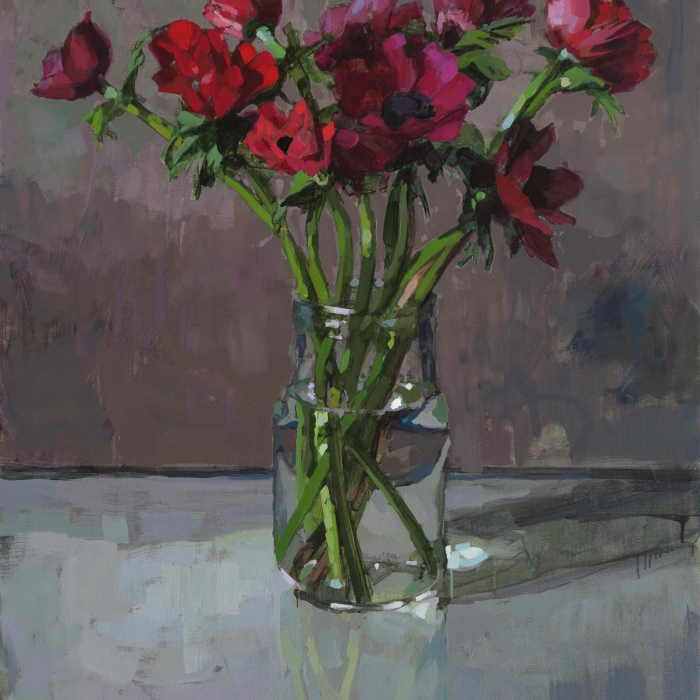"""Oil on canvas still life painting of a vase of red flowers against a grey background by Laurent Dauptain titled """"Anémones Rouges, Fond Gris Chaud."""""""