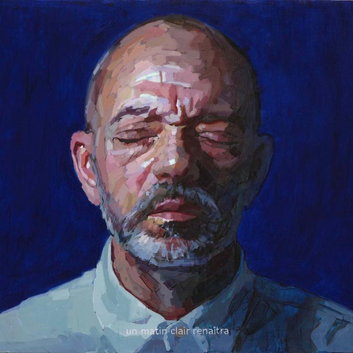 """Oil on canvas self-portrait against a cobalt blue background by Laurent Dauptain titled """"Autoportrait."""""""