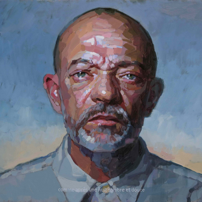 """Oil on canvas self-portrait against a blue and yellow background by Laurent Dauptain titled """"Autoportrait."""""""