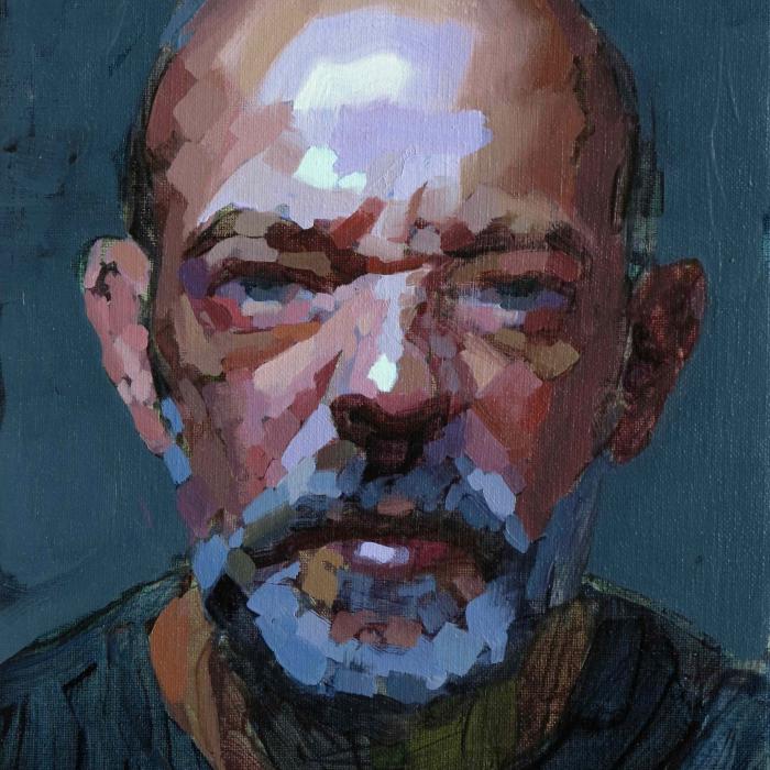 "Oil on canvas self-portrait against a dark teal background by Laurent Dauptain titled ""Autoportrait."""