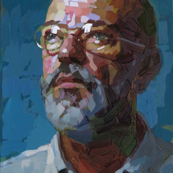 """Oil on canvas self-portrait against a teal background by Laurent Dauptain titled """"Autoportrait."""""""