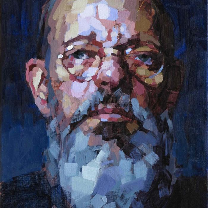 """Oil on canvas self-portrait against a dark blue background by Laurent Dauptain titled """"Autoportrait."""""""