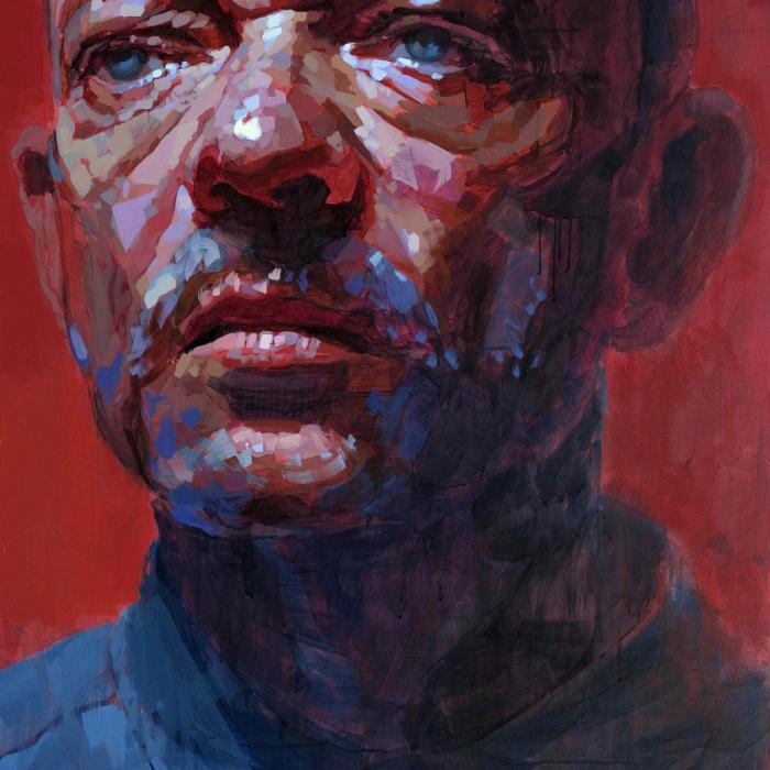 "Oil on canvas self-portrait against a red background by Laurent Dauptain titled ""Autoportrait."""