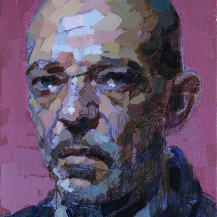 """Oil on canvas self-portrait against a pink background by Laurent Dauptain titled """"Autoportrait."""""""