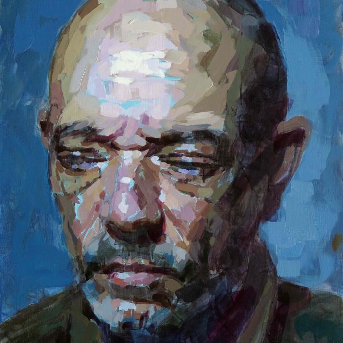 """Oil on canvas self-portrait against a blue background by Laurent Dauptain titled """"Autoportrait."""""""