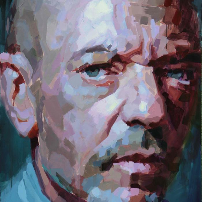 """Oil on canvas self-portrait against a teal-blue background by Laurent Dauptain titled """"Autoportrait, et des Mots sans Suite."""""""