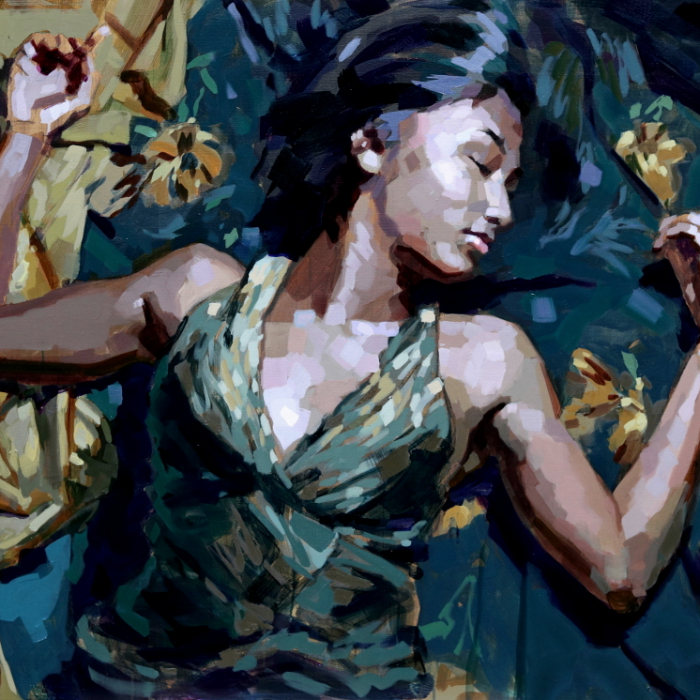 """Oil on canvas painting of a clothed woman, presumably sleeping, on teal and gold blankets by Laurent Dauptain titled """"En Plein Songe."""""""
