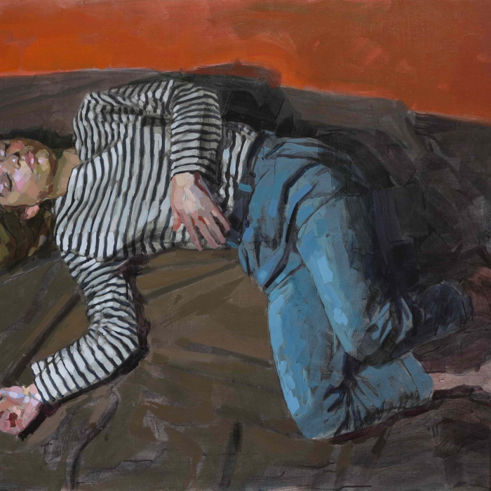 """Oil on canvas painting of a clothed woman, presumably sleeping, on a brown blanket against an orange background by Laurent Dauptain titled """"Endormie."""""""