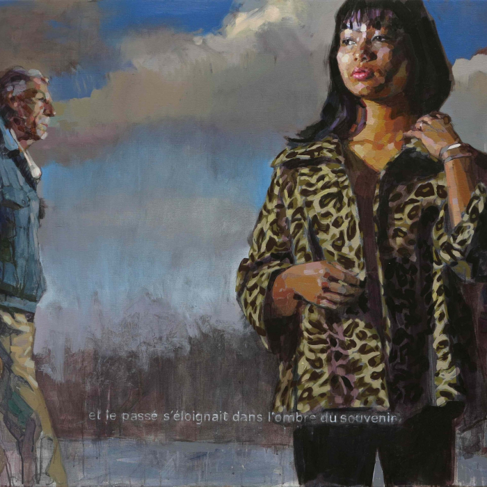 """Oil on canvas painting of an older man and two women, seemingly unaware of each other as if strangers on the street, against a background of an abstracted sky by Laurent Dauptain titled """"Et le Passé s'Éloignait."""""""