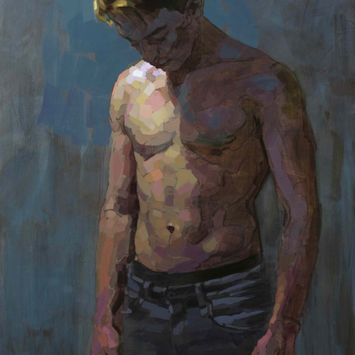 """Oil on canvas painting of a shirtless young man looking down at the floor, his face in shadow, by Laurent Dauptain titled """"Le Clair el l'Obscur."""""""