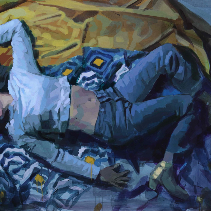"""Oil on canvas painting of a clothed woman, presumably asleep, laying down on blue and yellow blankets by Laurent Dauptain titled """"Luxe, Calme et Volupté."""""""
