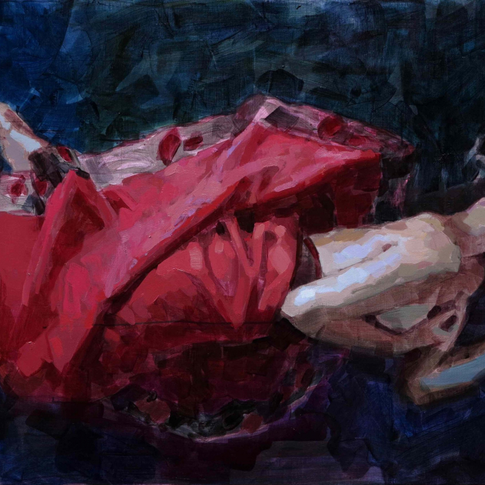 """Oil on canvas painting of a woman, either reclined or floating it is unclear, partially wrapped in a red cloth against a dark blue background by Laurent Dauptain titled """"Ophélie."""""""