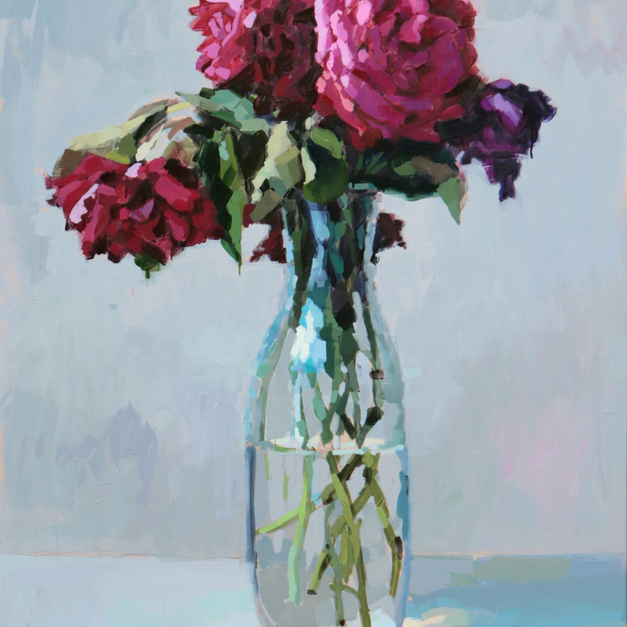 """Oil on canvas still life painting of a vase of bright pink roses against a light blue background by Laurent Dauptain titled """"Pivoines Rose."""""""