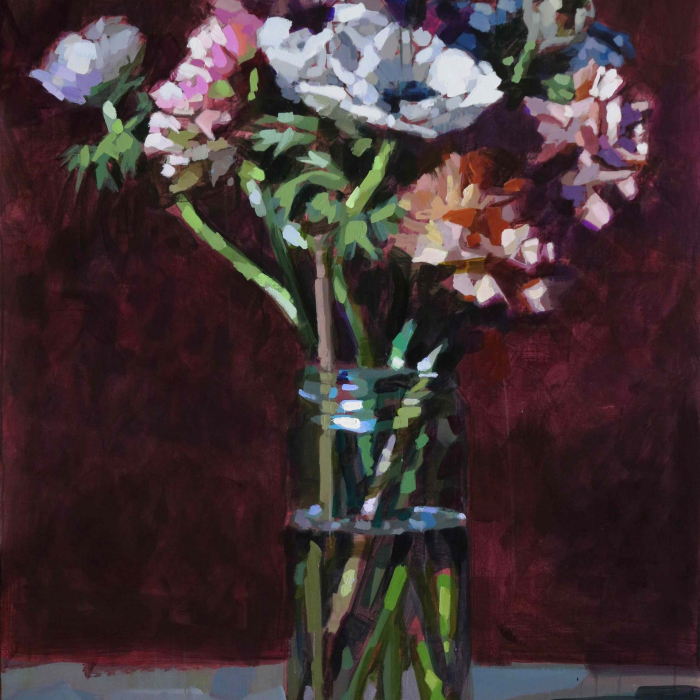 """Oil on canvas still life painting of a vase of pink, white, orange, and blue flowers against a burgundy background by Laurent Dauptain titled """"Pivoines et Anémones."""""""