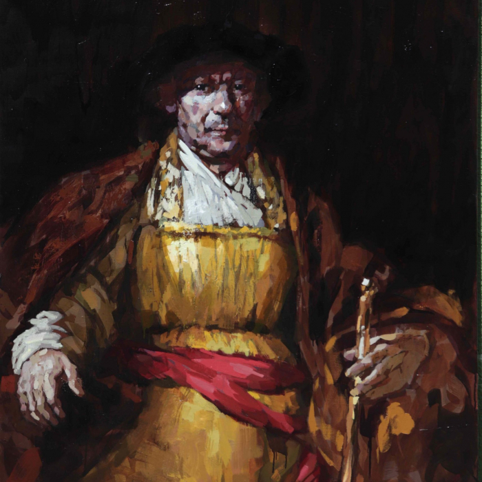 """Oil on canvas portrait of Rembrandt in red and yellow robes and black hat by Laurent Dauptain titled """"Rembrandt."""""""