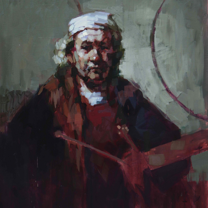 """Oil on canvas portrait of Rembrandt in a red robe and white hat by Laurent Dauptain titled """"Rembrandt."""""""