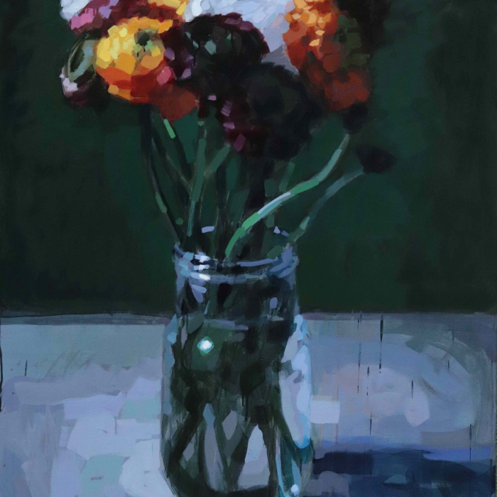 """Oil on canvas still life painting of a vase of orange, deep purple, and white flowers against a dark green background by Laurent Dauptain titled """"Renoncules."""""""