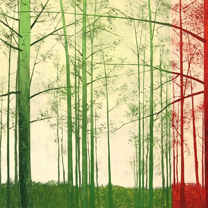 """""""Forêt en Vert et Rouge"""", oil on canvas, 37½"""" x 72¾"""" (95 x 185cm)"""