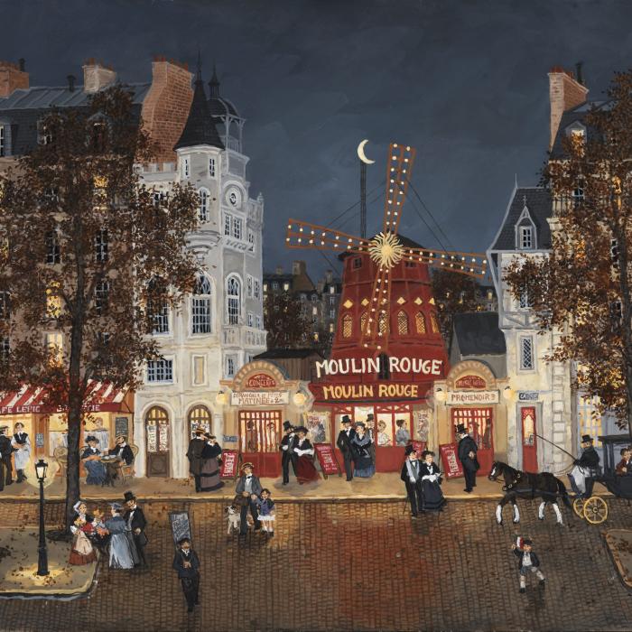 """""""Au Moulin Rouge"""", acrylic on board, 19½"""" x 24"""" (61 x 50cm)"""