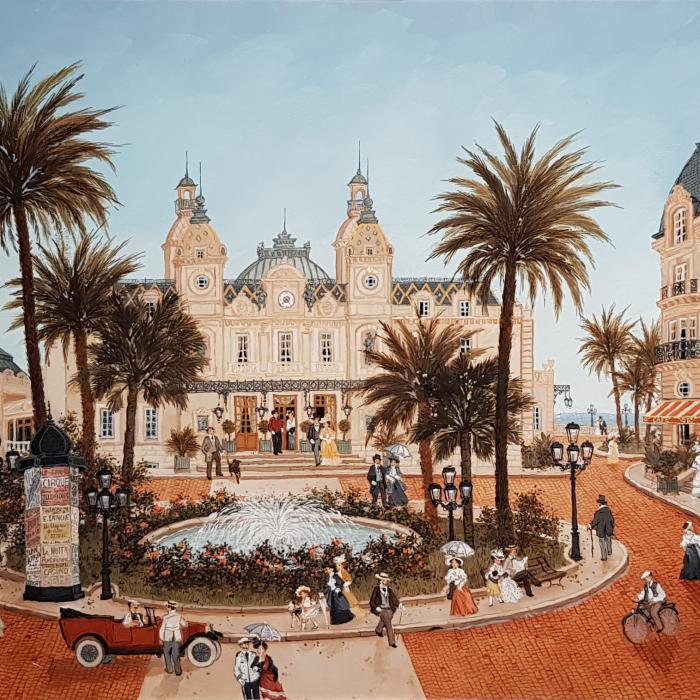 """La place du casino de Monte-Carlo"", acrylic on board, 31½"" x 23½"" (80 x 60cm)"