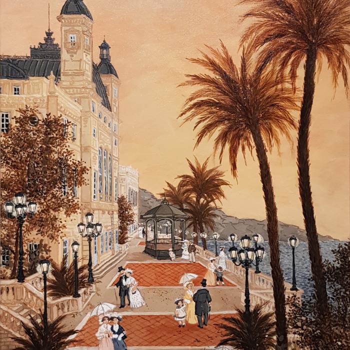 """""""Les terrasses du Casino de Monte-Carlo"""", acrylic on board, 23½"""" x 15¾"""" (60cm x 40cm)"""
