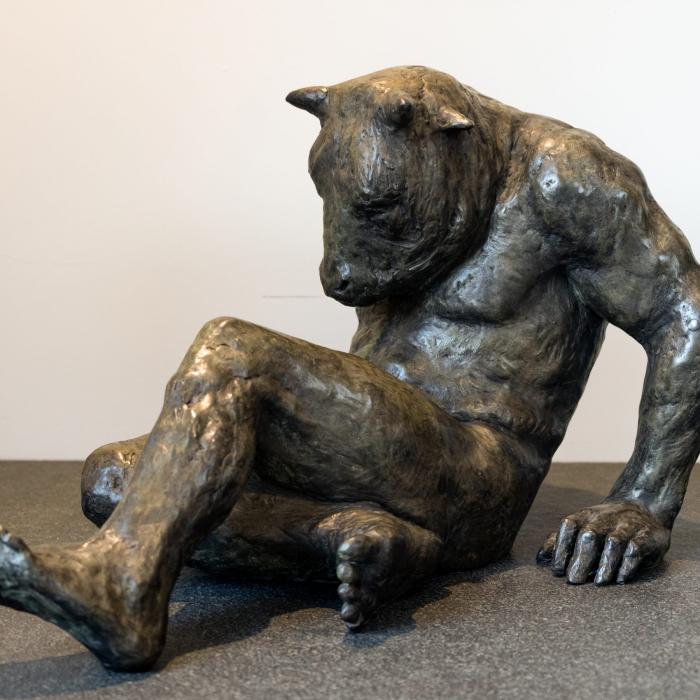 """Fallen Minotaur"", bronze, 19"" x 12½"" x 12¼"" (48 x 32 x 31cm)"
