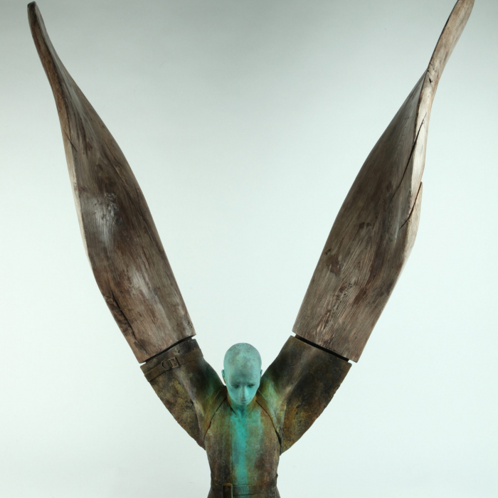 """""""Helicoide IV"""", bronze and wood, 45"""" x 50"""" x 12¼"""" (114 x 127 x 31cm)"""