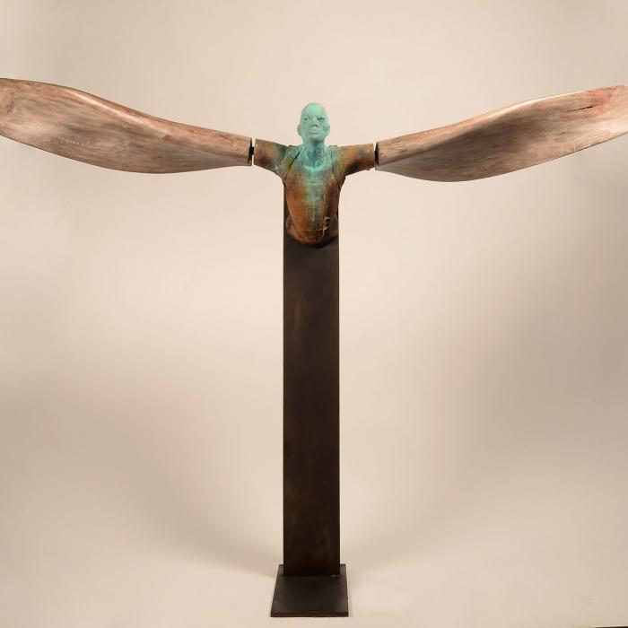 """Helicoide VI"", bronze, wood and iron, 91¼"" x 18"" x 15"" (232 x 46 x 38cm)"