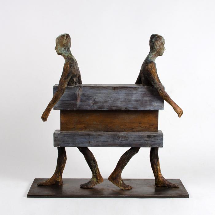 """Separados"", bronze, wood and iron, 14"" x 31½"" x 31½"" (25 x 80 x 80cm)"