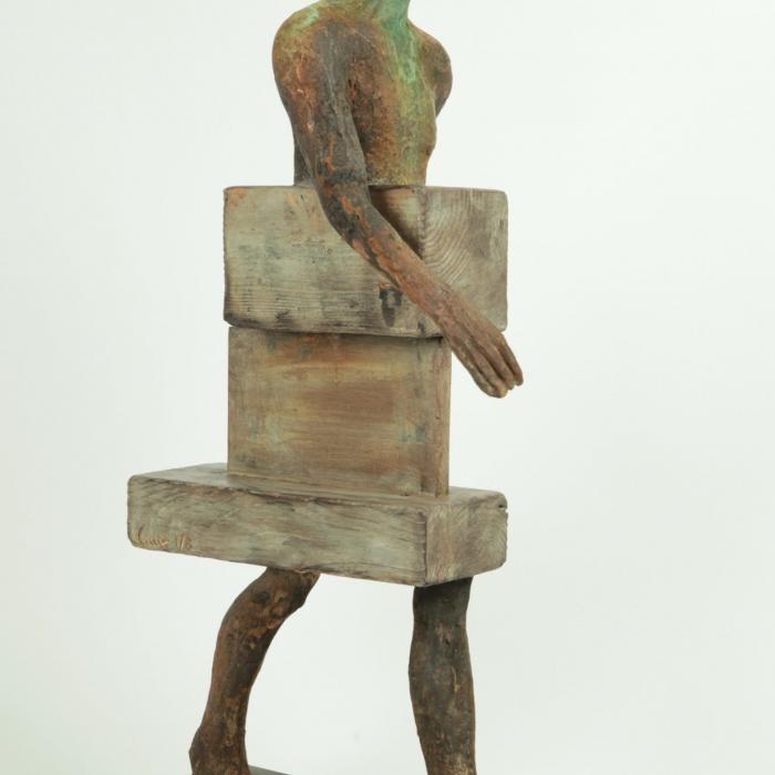 """""""Uncamino"""", bronze, wood and iron, 7¾"""" x 27½"""" x 13¾"""" (20 x 70 x 35cm)"""