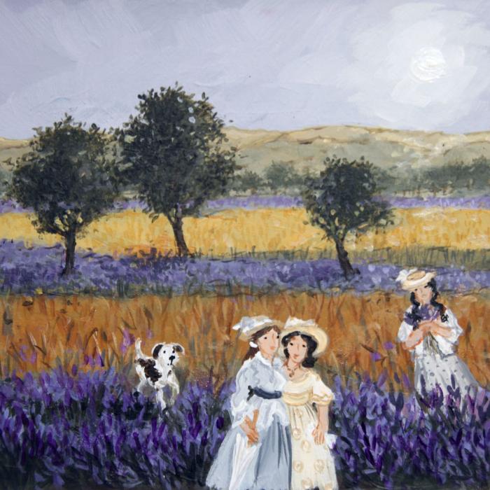 """Jeunes filles en fleurs"", acrylic on board, 5½"" x 7"" (14 x 18cm)"