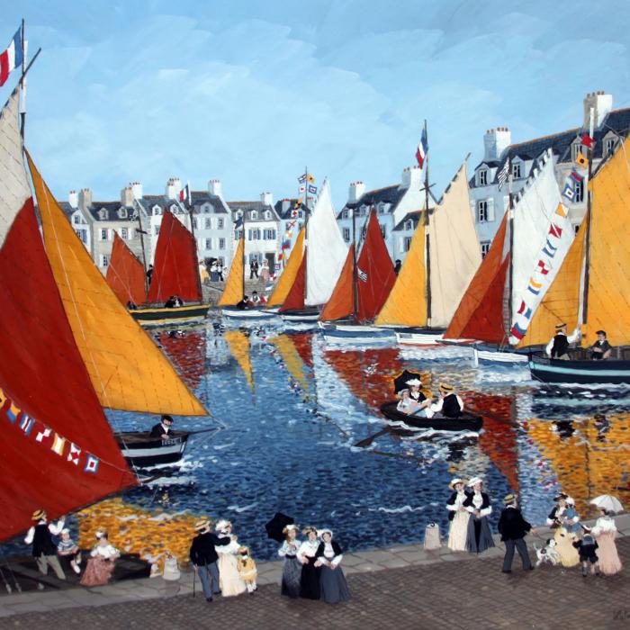 """""""La fête de la voile"""", acrylic on board, 24"""" x 19¾"""" (61 x 50cm)"""