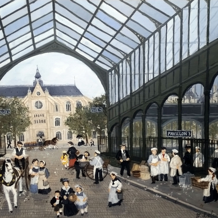 """Le carreau des Halles"", acrylic on board, 10½"" x 13¾"" (27 x 35cm)"
