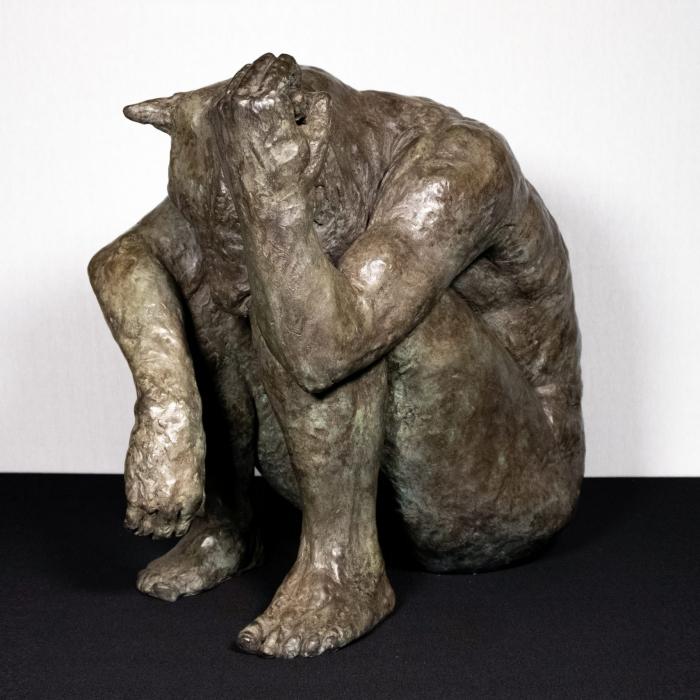 """Minotaur (holding horn)"", polished bronze, 20"" x 20"" x 13¼"" (51 x 51 x 34cm)"
