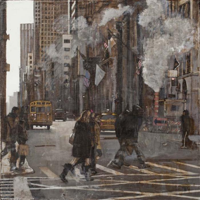 """New York 5th Avenue II"", oil on linen, 30"" x 30"" (76 x 76cm)"