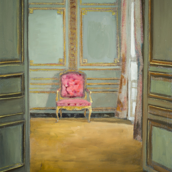 """""""Red Chair"""", oil on linen, 16"""" x 12"""" (41 x 30cm)"""