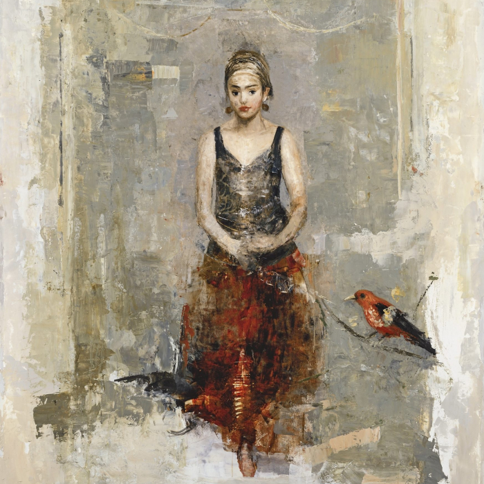 """""""Red skirt"""", mixes media on board, 51"""" x 35"""" (130 x 90cm)"""