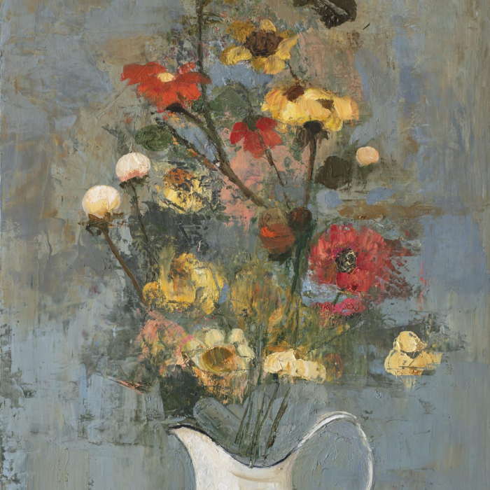 """""""Spring Flowers (white vase)"""", oil and wax on canvas, 39½"""" x 19¾"""" (100 x 50cm)"""