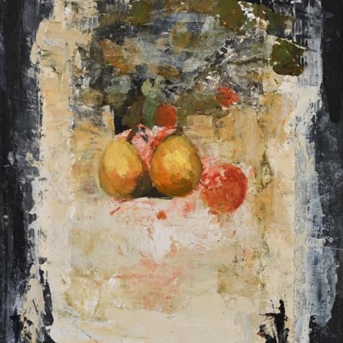 """Still Life I"", oil and wax on board, 19¾"" x 15¾"" (50 x 40cm)"